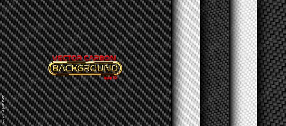 Fototapeta Vector black and white carbon fiber seamless background set. Textures collection