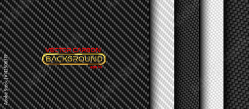 Vector black and white carbon fiber seamless background set. Textures collection