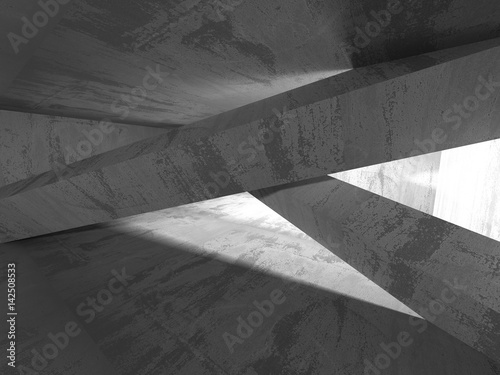 Fototapety, obrazy: Dark concrete empty room. Modern architecture design
