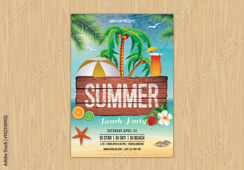 Illustrated summer event flyer layout 1 buy this stock template and illustrated summer event flyer layout 1 maxwellsz
