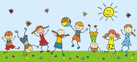 Naklejkahappy children in a meadow, vector illustration
