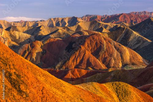 Papiers peints Orange eclat Zhangye, China - August 03, 2014: Rainbow Mountains of the Danxia Landform in Zhangye, China