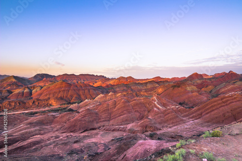 Tuinposter Purper Zhangye, China - August 03, 2014: Sunset at the Danxia Landform in Zhangye, China