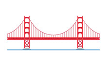 Golden Gate Bridge, San Francisco, USA. Isolated On White Background Vector Illustration.