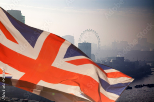 Poster Militaire brexit concept - Union Jack flag and iconic London landmarks - UK leavs the EU