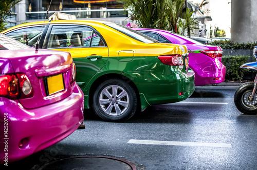 Fotografie, Obraz  traffico e trasporti in taxi a Bangkok