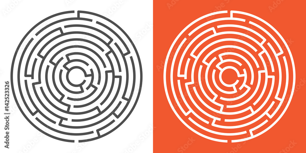 Fototapeta Round maze isolated on white and orange backgrounds. Circle labyrinth. Vector illustration