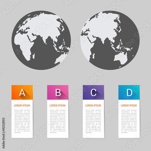 World map pointer marks icon flat web sign symbol logo label ...