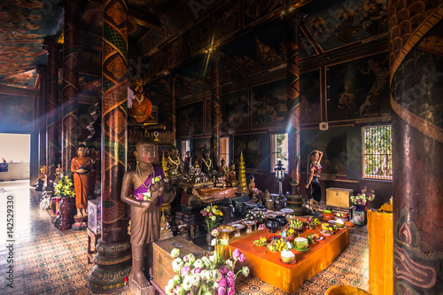 Foto op Canvas Monument October 08, 2014: Inside the Wat Phnom temple in Phnom Penh, Cambodia