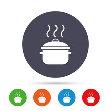 Cooking Pan Sign Icon. Boil Or...