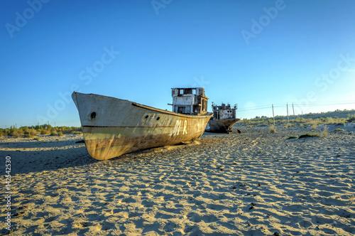 Rusted vessel in the ship cemetery, Uzbekistan Fototapeta