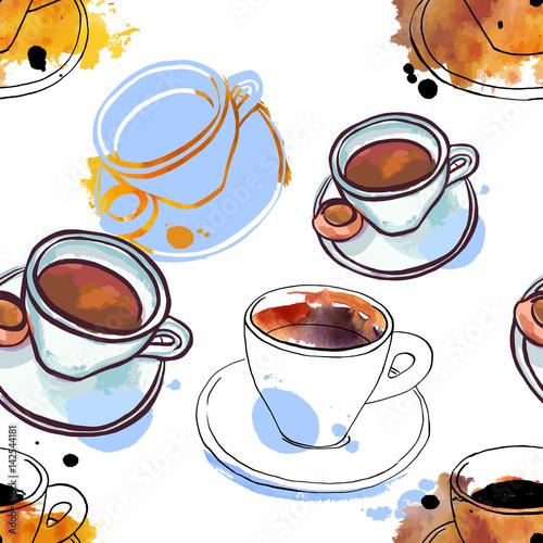 wzor-odreczne-rysunki-akwarela-kawy