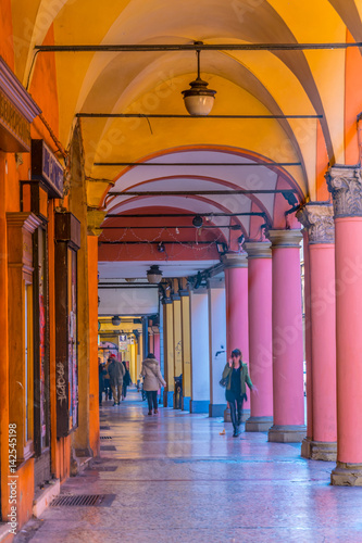 View of a covered arcade in the historical center of the italian town Bologna Fototapete