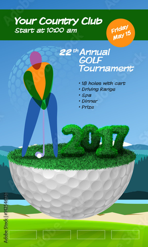 Golf Player Standing On Golf Ball Golf Course Background Vertical Brochure Template Vector Illustration Clipart Buy This Stock Vector And Explore Similar Vectors At Adobe Stock Adobe Stock