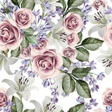 Bright watercolor seamless pattern with flowers lilies, roses and lilacs. illustrations - 142550551
