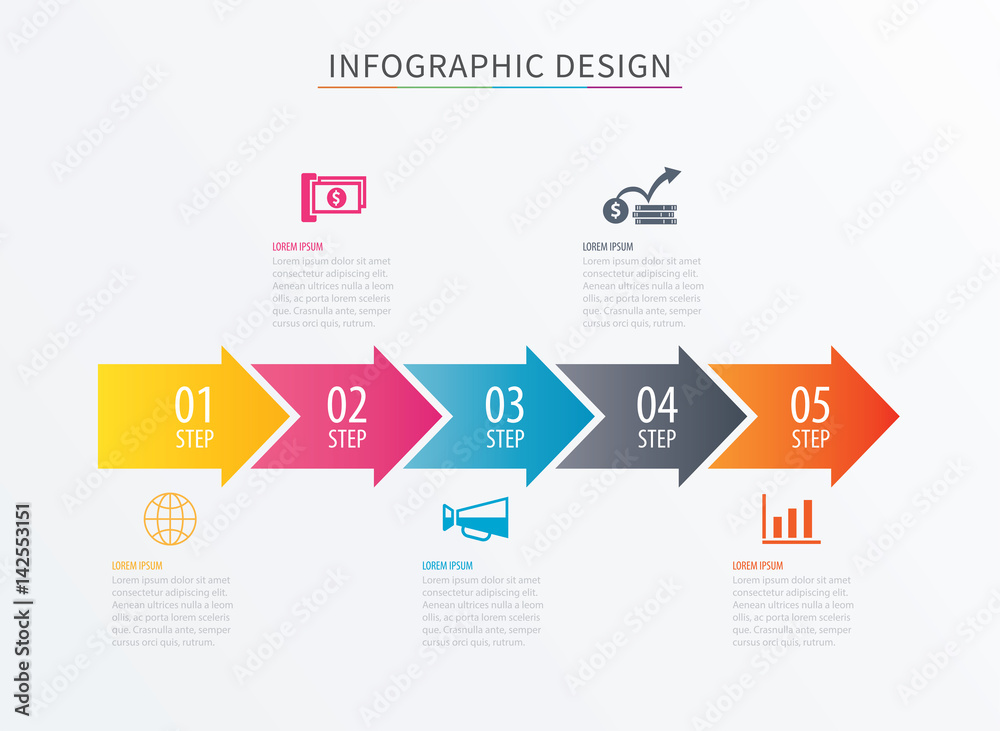 Fototapeta Infographics arrow number 5 step template. Vector Process chart background. Can be used for workflow layout, diagram, data, business options, banner, web design.