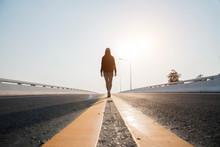 Silhouette Woman  Walking On S...