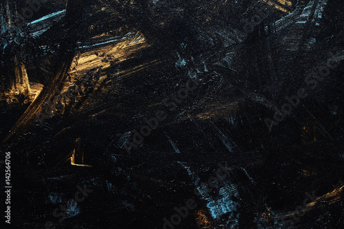 Abstract black, blue and gold background Canvas Print