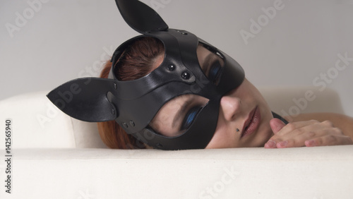 Fotografie, Obraz  mask women bdsm cat animal