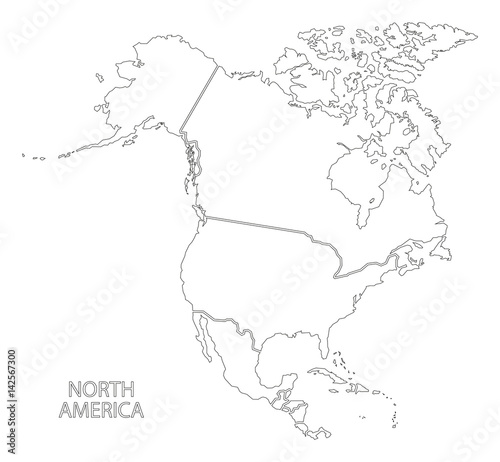 North America outline silhouette map with countries – kaufen ...