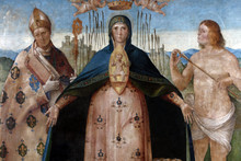 Benedetto Diana: Madonna Help Of Christians With Saint Louis Of Toulouse And Saint Sebastian, Altarpiece In The Franciscan Church In Poljud, Split, Croatia