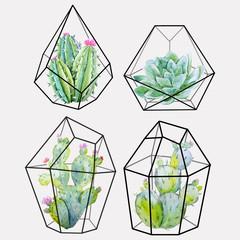 Obraz Watercolor cactus vector set