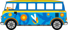 Cartoon Hippie Bus
