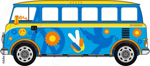 Cartoon Hippie Bus Wallpaper Mural