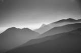 A beautiful, abstract monochrome mountain landscape. Decorative, artistic look in black and white style. - 142576152