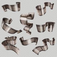 Retro 35mm Foto And Movie Film Roll Vector Set