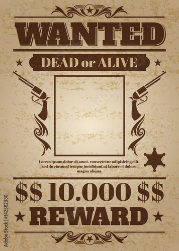 Vintage wanted western poster with blank space for criminal photo. Vector mockup