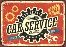 Car Service Vintage Tin Sign Vector Image