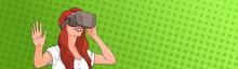Woman Wear Virtual Reality Dig...