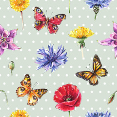 Panel SzklanyMeadow flowers, butterflies, herbs. Seamless summer dot background, vintage style