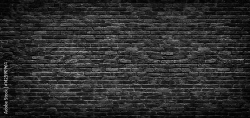 Photo sur Toile Brick wall Black brick wall texture, brick surface as background
