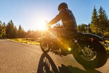 Dark Motorbiker Riding High Power Motorbike