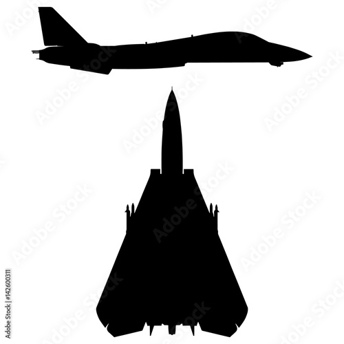 Photo  Military Swept-wing Fighter Jet Aircraft Silhouette Vector Illustration