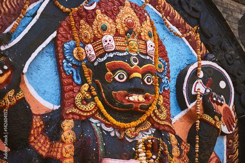 Face of the Hindu god Kala Bhairava at Durbar Square in Kathmandu, Nepal