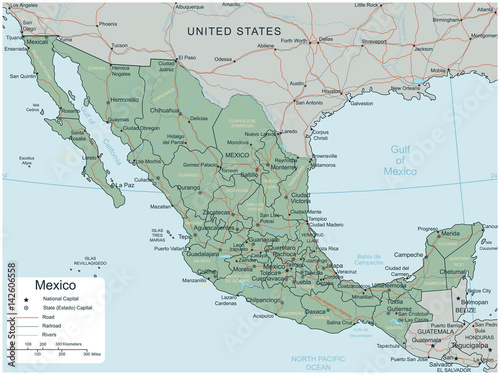 Mexico map with selectable territories. Vector – kaufen Sie diese ...