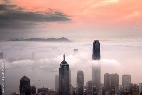 Misty morning view at Hong Kong City Poster