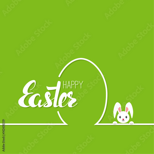 Staande foto Positive Typography Happy easter cards illustration with egg, bunny. minimal outline. Abstract background with Easter funny rabbit. Vector calligraphy isolated. Hand drawn lettering. green