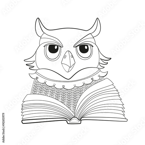 Vector Illustration Owl With Open Book Outline Isolated Coloring Page For Kids