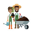 gardener couple cartoon icon over white background. colorful design. vector illustration
