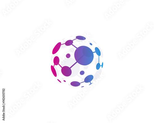 Plakat Glob ikona kropka ikona logo element projektu