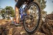 Man cycling outdoor adventure exercise. Selective focusing