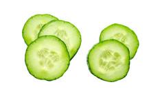 Fresh Slice Cucumber Isolated On White Background
