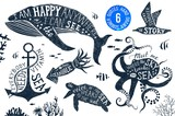 Hand drawn set of summer lettering in silhouettes - 142641531