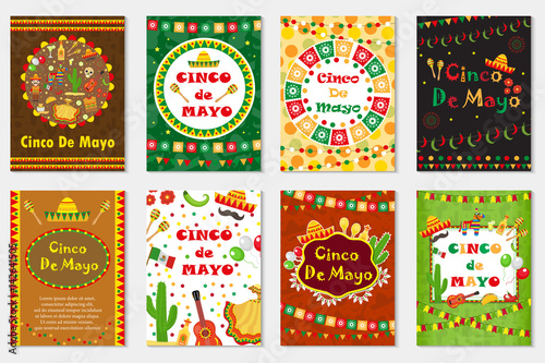 Cinco de mayo set greeting card template for flyer poster cinco de mayo set greeting card template for flyer poster invitation mexican stopboris Image collections