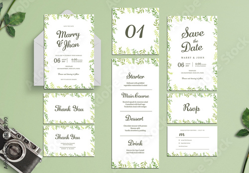watercolor wedding invitation set buy this stock template and