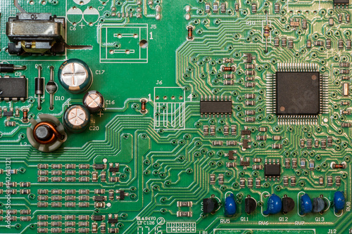 Fotografie, Obraz  smd green multi layer printed electronic circuit board with microcontroller and
